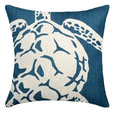 Sea Turtle Navy Linen Pillow