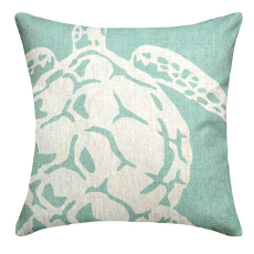 Sea Turtle Aqua Linen Pillow