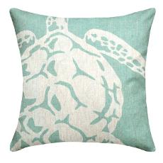 Sea Turtle Aqua Linen Pillow