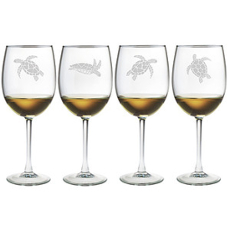 Sea Turtle Stemmed Wine Glass Assortment S/4
