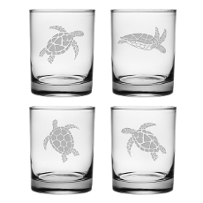 Sea Turtles Assortment Etched On The Rocks Glass Set