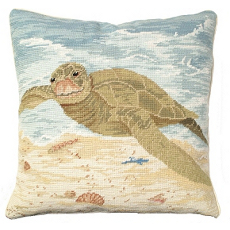 Sea Turtle Needlepoint Pillow
