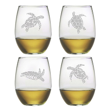 Sea Turtle Stemless Wine Glass Assortment S/4