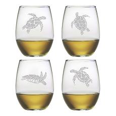 Sea Turtle Stemless Wine Glass Assortment S/4