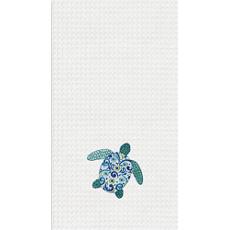 Meridian Sea Turtle Kitchen Waffle Weave Towel