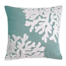 Seafoam Linen Beaded Coral Pillow