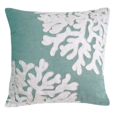Seafoam Linen Beaded Coral Pillow