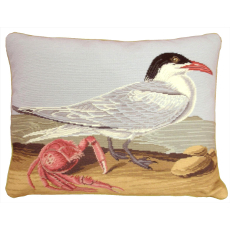 Seagull Crab Needlepoint Pillow