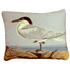 Seagull Shell Needlepoint Pillow