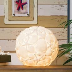 White Embossed  Seashell Ball Lamp