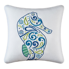 Meridian Seahorse Embroidered Pillow