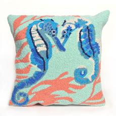 Seahorse Aqua Indoor Outdoor Pillow