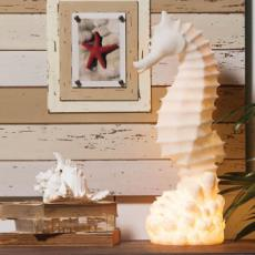 White Embossed  Seahorse Lamp