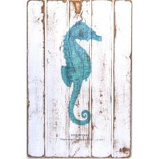 Seahorse Teal Floorboard Art