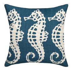 Seahorses Navy Linen Pillow