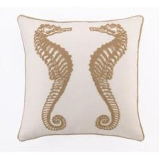 Seahorses Embroidered Pillow