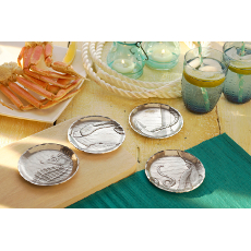 Seashore 4 Piece Coaster Set with Caddy