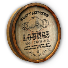 Seaside Lounge Quarter Barrel Wall Sign Personalized