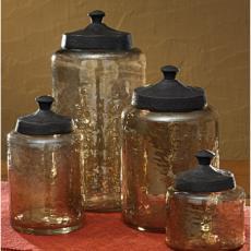 Hammered Glass Jar Set of 4