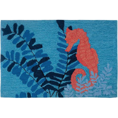 Serene Sea Horse Accent Rug