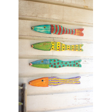 Set of 4 Recycled Wood Antique Fish Wall Art