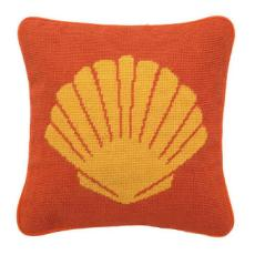 Shell Orange Needlepoint Pillow