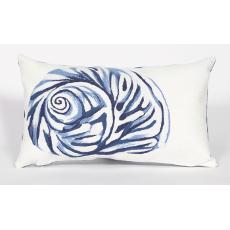 Shell Blue Indoor Outdoor Oblong Pillow