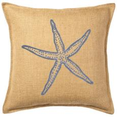 Blue Starfish Print On Washed Burlap Pillow