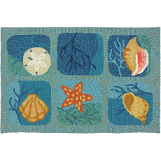 Shell Tile Aqua Indoor Outdoor Rug