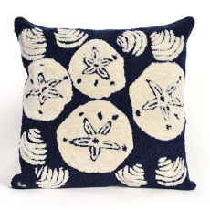 Shell Toss Navy Indoor Outdoor Pillow