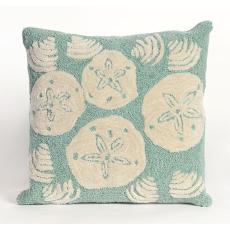 Shell Toss Aqua Indoor Outdoor Pillow