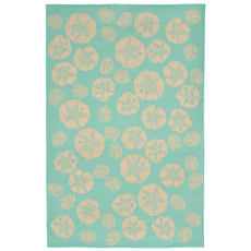 Terrace Shell Toss Turquoise Indoor Outdoor Rug