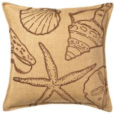 Brown Seashell Print On Washed Burlap Pillow
