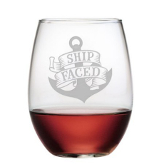 Ship Faced Etched Stemless Wine Glass Set