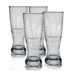 Clipper Ship Etched Grand Pilsner Glass Set
