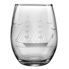 Clipper Ship Etched Stemless Wine Glass Set
