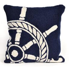 Ship Wheel Navy Indoor Outdoor Pillow