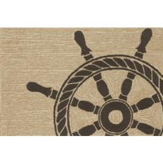 Ship Wheel Black Indoor Outdoor Rug