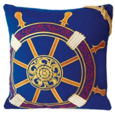 Ships Wheel Embroidered Indoor/Outdoor Pillow