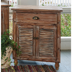 Shutter Side Table Weathered Wood Cabinet