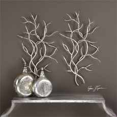 Silver Branches Wall Decor  S/2