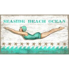 Diving Girl Personalized Beach Sign