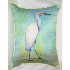 Snowy Egret Indoor Outdoor Pillow
