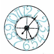 Spa Blue Metal Clock