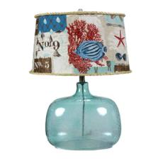 Ocean Blue Glass Table Lamp  With Coastal Shade