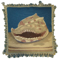 Spiral Shell Needlepoint Pillow