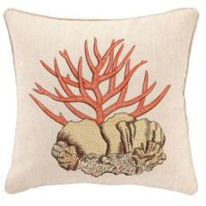 Stag Coral Embroidered Pillow