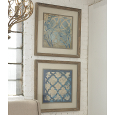 Stained Glass Indigo Framed Art, Set of 2