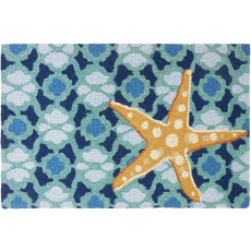 Starfish on Blue Tile Accent Rug