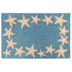 """Starfish Border Indoor/Outdoor Rug Aqua 24"""" X 36"""""""